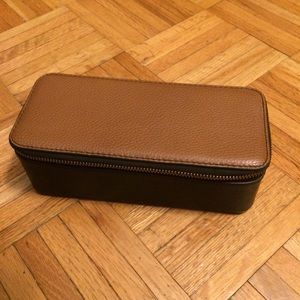 Fossil watch leather zipper carry case box